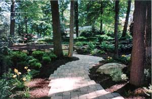 Paver walkway with pavers that look like stone.