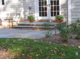 Raised patios can have landings.