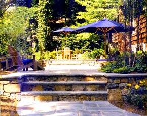Stone patio retaining walls.
