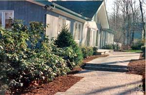 Wide paver walkway design.