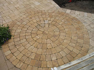 travertine paver circle can be set into a design.