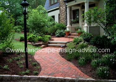 Curved brick walkway and steps.